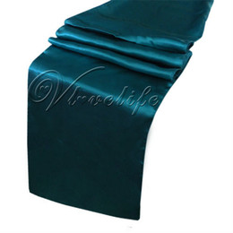 "Free Shipping 10PCS New Teal Blue Satin Table Runners 12"" x 108'' Wedding Party Banquet Decorations 30cm x 275cm"
