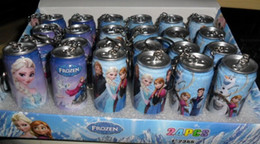 Wholesale Hot Cute Anna Elsa Cartoon Canned Cola Modeling Ballpoint Pen Children Key Chains Baby Learing Toys Birthday Gift cartons L0808