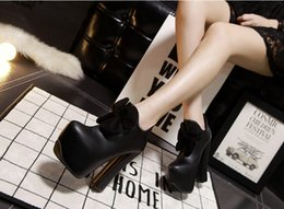 Wholesale Female bare boots Sexy black Bare boots Bow decoration Roman Style Waterproof high heeled Size