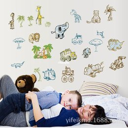 Wholesale bedroom decoration Creative wall sticker new children s room wall stickers cartoon elephant animal park AY9155 background image