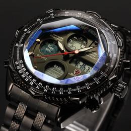 Machos negros en Línea-Brand New SHARK Digital Relojes LCD Acero Inoxidable Correa Relogio Masculino Negro Hombre Reloj Hombres Relojes Cuarzo Militar Watch / SH116