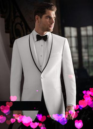 Gorgeous White Custom Groom Tuxedos Men Suits Shawl Lapel Bridegroom Wedding Business Prom Party Suits(Jacket+Pants+tie) h65