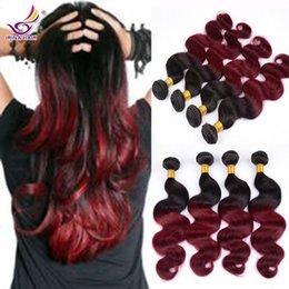 Brazilian Virgin Hair body wave red ombre hair extensions 4pcs free shipping red weave hair ombre burgundy 1b 99j Unprocessed 100 Human Hair