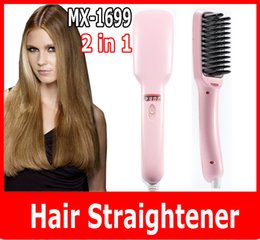 wholesale Ionic Brush Hair Straightener Comb Irons Come With LCD Display 2 IN 1 ionic hair straightener MX-1699 brush hair straighter comb