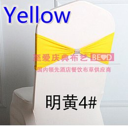 Wholesale Yellow colour Lycra Chair Bands With shiny belt Elastic Lycra Chair Sash For Weddings Decors Pary Supplier