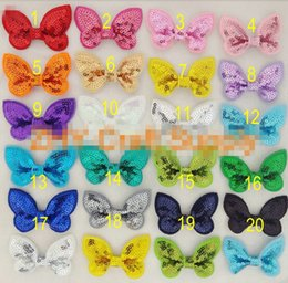 Wholesale 15 off New Arrival colors quot Sequin Bow Without Clips Girl Beauty Bows Hair Accessories Headwear christmas style drop shipping