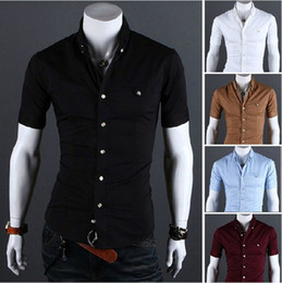 Wholesale Multi Color Short Sleeve Shirt For Man Slim Fitted Solid Casual Shirt Fashion Buttons Tuxedo Shirt Pink White Blue Shirts AWE1223