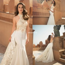 Wholesale Oved Cohen Backless Wedding Dresses High Neck Pearls with Detachable Train Satin Applique Cheap Mermaid Sexy Spring Summer Bridal Gowns