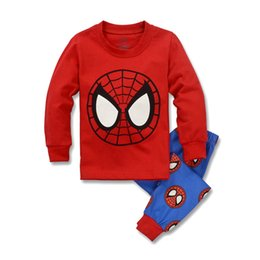 Boys Suit Red Spider-man Pajamas Sets Boys Long Sleeve Two Pieces 2016 Newest Set Foy Boys Children Clothing Sports Sets