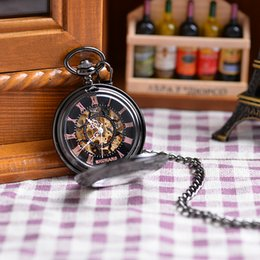 Wholesale 2016 New Steampunk Skeleton Mechanical Black Open Face Retro Pendant Pocket Watch Gift High Quality Cool Clothes Watch
