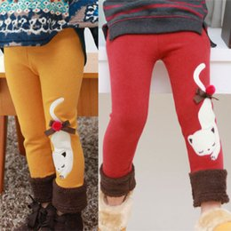 Wholesale Cartoon Cat Fashionable Leggings Baby Cloth Cloth Winter Protection Kids Princess Trouser Clothes Children Clothing Hot Sale