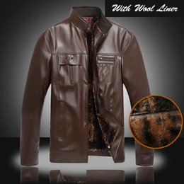 Wholesale Fall New Best Quality Outerwear Coat Leather Jacket For Man Male Wool Liner Winter
