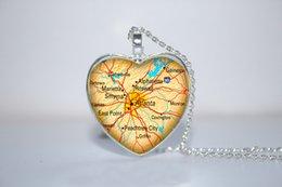 Wholesale 10pcs Atlanta Map Pendant Atlanta Necklace Jewelry Atlanta Georgia GA heart Necklace Glass Photo Cabochon Necklace
