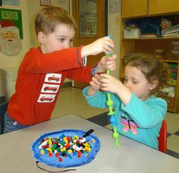 Acheter en ligne Stockage pour les jouets-Hot Portable Enfants Enfant bébé jouet tapis bébés bébé jouets sacs de stockage rapide de construction lego bloc organisateur couvertures petites tailles