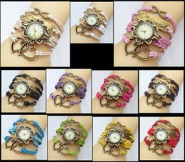 Descuento cuero reloj pulsera corazón Los nuevos relojes calientes del infinito miran los relojes de la pulsera de la armadura Los relojes de la señora Wrap miran los relojes de muñeca dobles del corazón del sueño de la cruz del amor mezclan colores