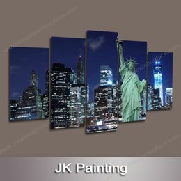 Canvas Huge Painting 5 Piece Art of New York City Scenery Gallery Wall Picture for Living Room -- Wall Decoration Paintings