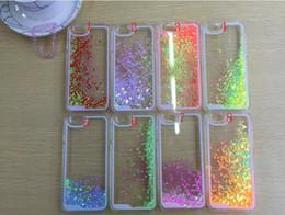 Cas transparents pour iphone 4s en Ligne-Flottant paillettes étoile Courir Quicksand liquide Hard Case Cover dynamique brille clair transparent pour iPhone4 / 4S / 5 / 5s / iphone 6 6 plus