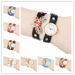 Fashion Butterfly Wrap Women Watches Lady Leather Wrist Watches Colorful Diamonds PU Band Round Dial Charming Bracelets Watches