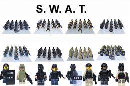 Wholesale 21pcs SWAT FBI Special Police Set Tactical Ops Minifigure soldier Building Block Brick accessory LELE decool action mini figure
