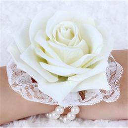"Velvet Rose Wrist Flower with Pearl Bracelet Dia. 6.5cm 2.56"" Artificial Flowers Roses for Wedding Bridal Bridesmaid Flowers"