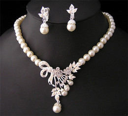 White Diamond Pearl Necklace Earrings Jewelry Set Bridesmaid Bridal Fine Jewelry Wedding Dresses Accessories Brand New