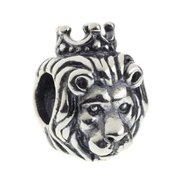 Wholesale Beads Hunter Jewelry Authentic Sterling Silver King Lion Charm fashion jewel big hole bead For mm European Bracelet snake chain