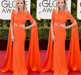 Wholesale 73rd Golden Globe Awards Celebrity Dresses Giuliana Rancic in Alex Perry Modest Orange Long Sleeves Red Carpet Evening Prom Party Gowns