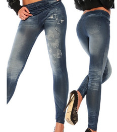 Wholesale 8105 New Fashion Womens Small butterfly printed Leggings Seamless Imitation Jeans Nine minutes of pants