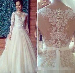 2015 Vintage Bateau A Line Chapel Train Wedding Dresses Sheer Lace Appliques Cover Button Bridal Gowns Long Sleeves Wedding Gown