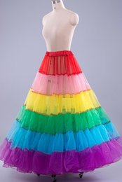 Colorful Dance Pageant Dresses Petticoat Cheap In Stock Wedding Accessories Underskirt For Prom Dresses Rainbow Girl's Women Skirt