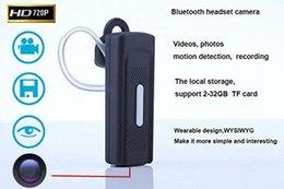 auricular bluetooth cámara 1280 * 720P oculta espía auricular leva video audio mini videocámara de la detección del movimiento de apoyo 2-32GB TF tarjeta bluetooth earphone spy camera for sale desde bluetooth auriculares cámara espía proveedores