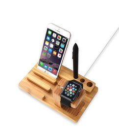 Wholesale Hot seller New Product Phone Watch Holder Bamboo Wooden Stand Base Multifunctional Holder for Iphone Plus Samsung HTC