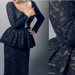 2016 Black Lace Evening Dresses Sex V Neck Long Sleeve with Peplum Saudi Arabia Floor Length Prom Gowns