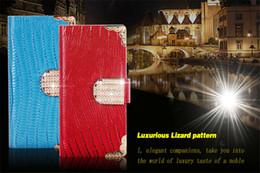 Lizard Pattern Luxury Diamond Wallet PU Leather Flip Case Stand For Sony Xperia Z1 Z2 Z3 Mini C4 M2