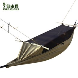 Wholesale outdoor camping outdoor survivor mult ifunction portable mosquitoes hammock wear resisting tent cm height Free soldier wolf brown