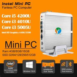 Wholesale Fanless Barebone i5 Mini PC Win10 Years Warranty Mini Computer Intel Core i5 U i3 U K HTPC TV Box