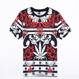 Wholesale Harajuku style Men s Casual Tide Brand T Shirt Bandana Hemp Leaf Printed Short sleeved T shirt Hip Hop Street tops tee shirts