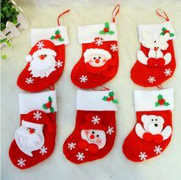 Wholesale Decoraciones del partido de Navidad de Santa Claus muñeco calcetines de dulces de Navidad regalos bolsa Cocina Cubiertos Tenedores Bolsillos gente Cuchillos Bolsa