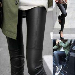 Wholesale Cheap Faux Pants - Hot Fashion Sexy Shiny Metallic Black Stretchy Faux Leather Leggings Pants Women Slim Trouser One size Cheap Free Ship