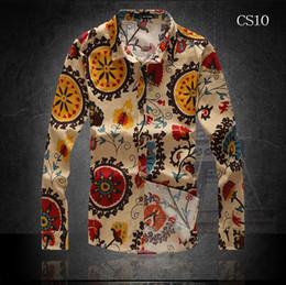 Men's Shirts 2015 Korean Style Leisure Flax Long Sleeve Shirt For Autumn Men shirt Fashion Flower Casual Shirts Men Lining Long Sleeve Shirt