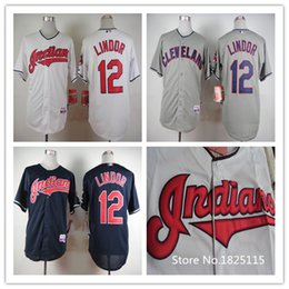 Cheap #12 Francisco Lindor Jersey Stitched Cool Base Indians Jerseys Cream Grey Blue White Baseball Jerseys