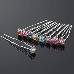 40pcs\lot Wedding Bridal Pearl Flower Crystal Rhinestone HairPins Bridesmaid Clips Hair Wear U Pick Tiara Jewelry Hair Accessories 8 Colors