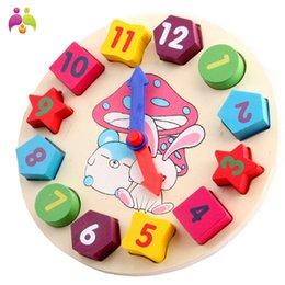 Bebé Niños Educación Infantil Rompecabezas De Madera Juguetes De Madera Reloj Digital Jigsaw Juguete Geometría Apilamiento Bloques Juguetes al por mayor MBF18 desde reloj digital de la geometría proveedores