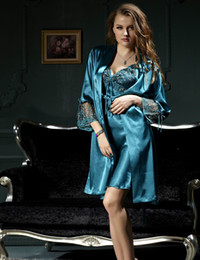 Emulation Silk Women Robe Sets Three Quarter Sleeve Lace Embroidery Nightgowns Solid V-Neck Bathrobes Twinset Nightdress 8205