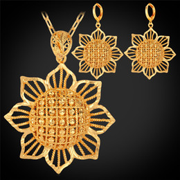 U7 Sunflower Jewelry Sets Drop Earrings Pendant Necklace Set for Women 18K Gold Plated Flowers Fashion Accessories PE225