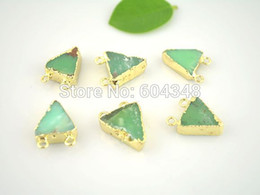 Wholesale crystal luxury Crystal Shiny Australia Jade Pendant Beads Gold Plated Edged Connector Pendant in Green color Triangle shape Drusy G