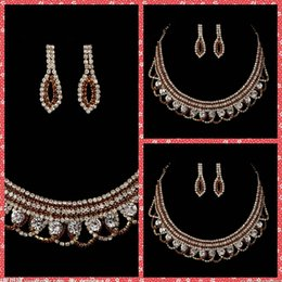 Wholesale Top Sale Luxurious Bridal Necklace And Earring Sets Of Accessories For Bridal Wedding Party Events Beaded Crystal Adorned Cheap Sale Online