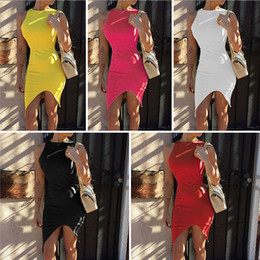 Wholesale Hot New Arrivals Lady Women Short Bodycon Mini Dress Skirts Polyester Asymmetrical Hem Fashion Sexy Cocktail Party QX174