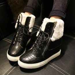 Wholesale-New arrive winter boots, British wind round head increased side zippers short boots suede warm snow boots women ankle boots