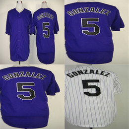 Factory Outlet Custom Mens Womens Kids Colorado 5 Carlos Gonzalez White Purple Black Cool Flex Base Embroidery Logo Cheap Baseball Jerseys